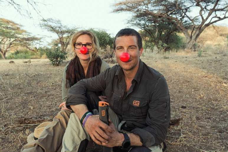 Julia Roberts and Bear Grylls