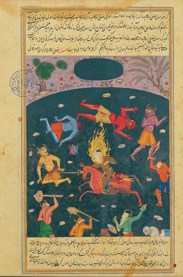 A painting showing Imam Ali conquering a group of djinn