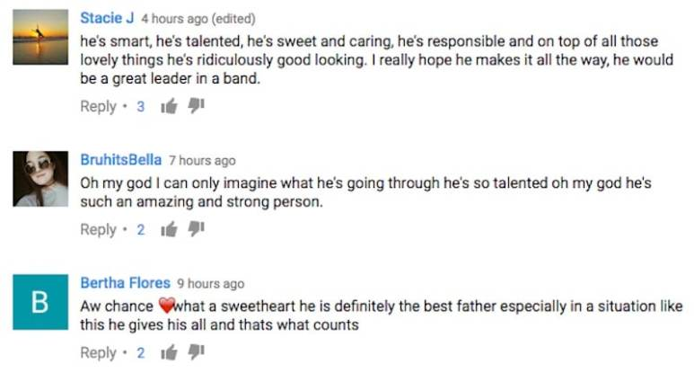 YouTube comments from the video of Chance Perez breaking down on Boy Band