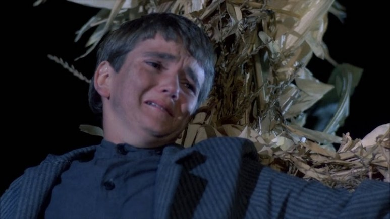 Isaac looking anguished with corn behind him on Children of the Corn
