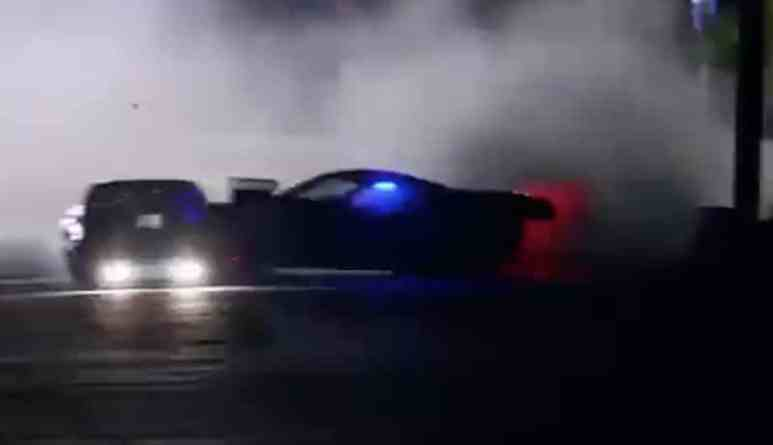 A car spins off the track at high speed on the Street Outlaws: NOLA premiere