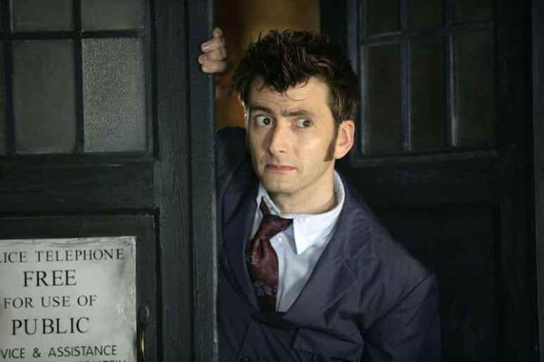 David Tennant coming out of the TARDIS