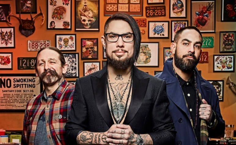 Ink Master's Oliver Peck, Dave Navarro and Chris Núñez posing for a promotional photo