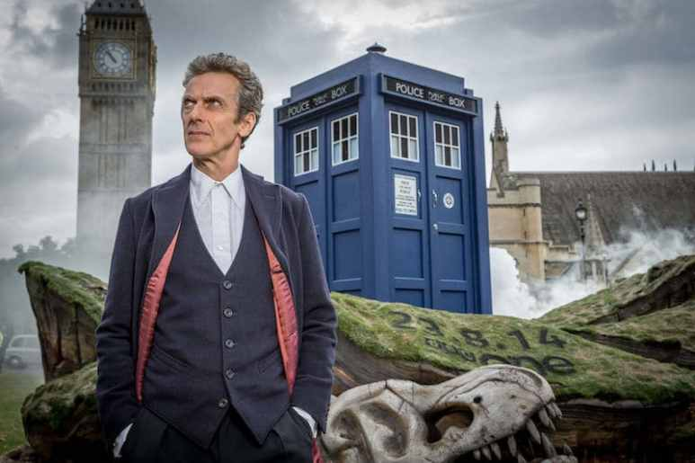 Peter Capaldi in front of the TARDIS and Big Ben