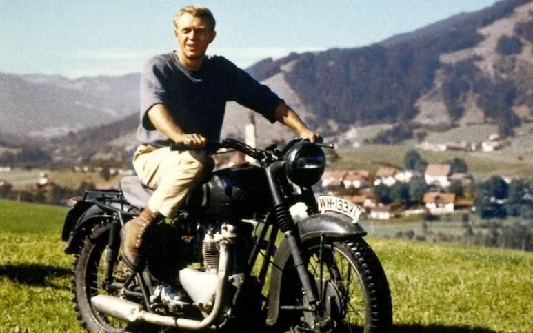 Steve McQueen on his bike in The Great Escape