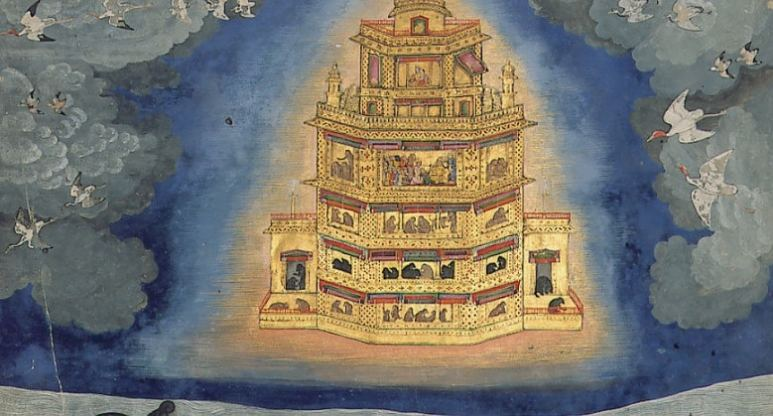 Images of the Pushpaka Vimana, a glowing golden flying palace