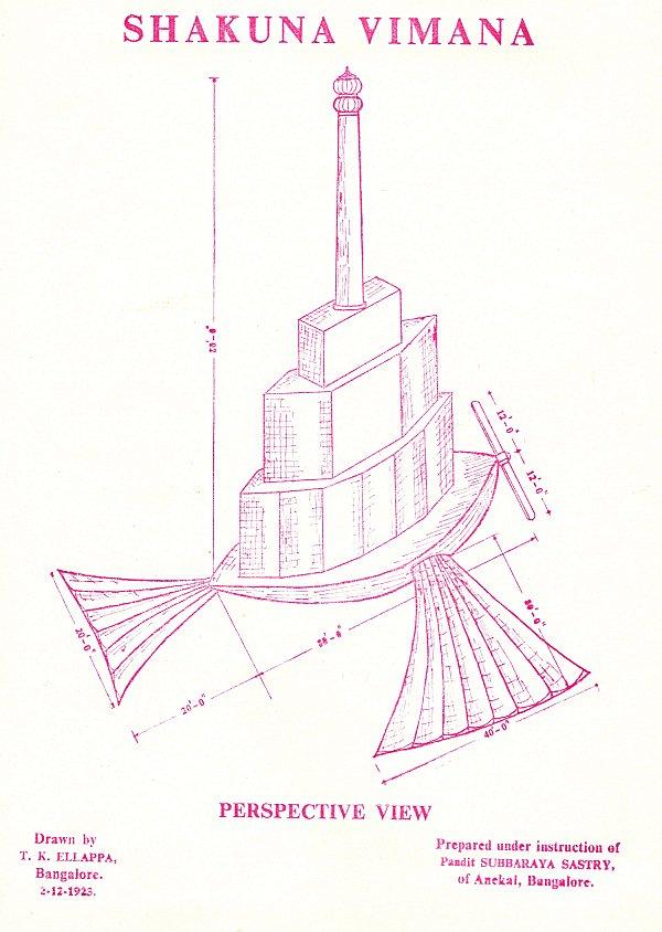 Drawing of Shakuna Vimana, a sort of flying ship building
