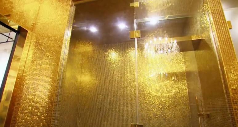 A Golden shower room with everything gold