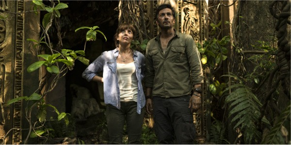 Hooten and Lady Lindo-Parker  standing in the jungle looking a little worse for wear