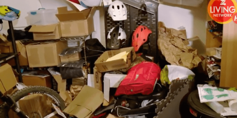 Pile of junk and other stuff piled in room