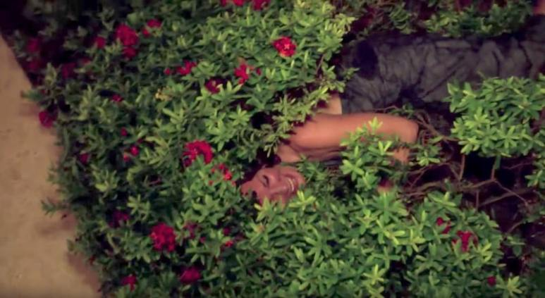 Luann smiling as she lies in a bush on The Real Housewives of New York City