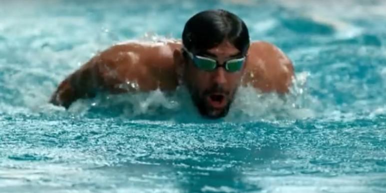 Michael Phelps swimming in pool