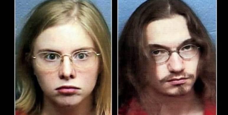 Clara Schwartz and Mike Pfohl mugshots, both look intense and pale