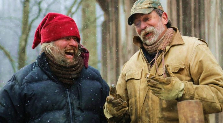 Preston Roberts laughing with Eustace Conway on Mountain Men