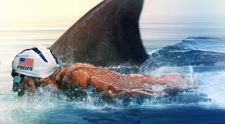 Artwork depicting Michael Phelps racing a great white shark