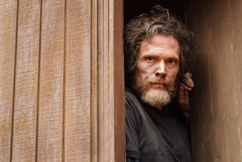 Paul Bettany as Ted Kaczynski peering out a wooden cabin's door in Manhunt: Unabomber