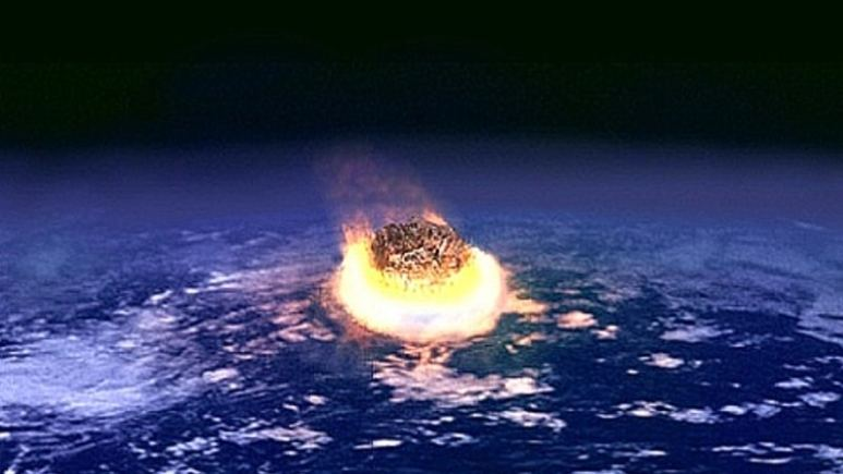 Painting of asteroid exploding as it hits Earth