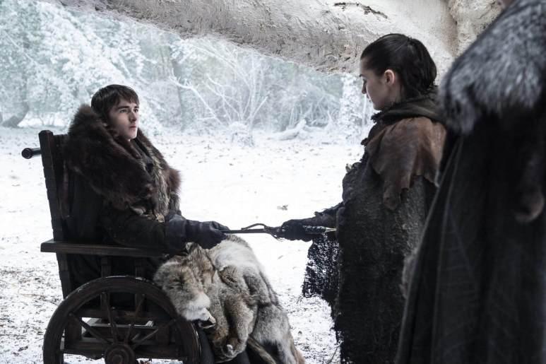 Brand handing Arya the dagger on Game of Thrones