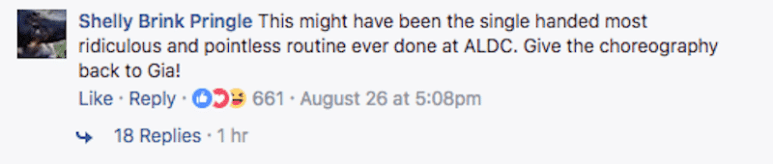 Comment on Dance Moms Facebook page