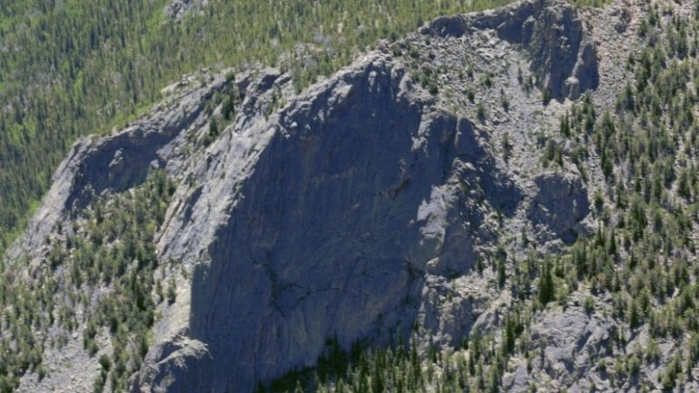 Photo of cliff Toni fell from, high and craggy