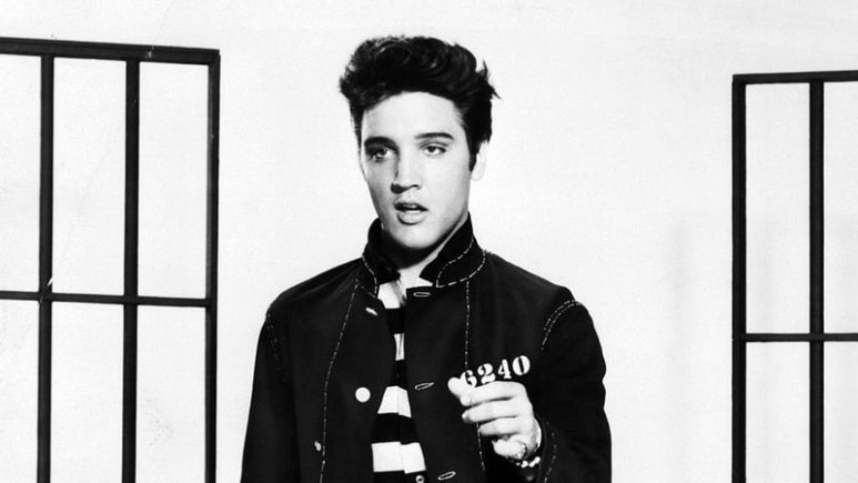 Elvis Presley in a still from the movie Jailhouse Rock
