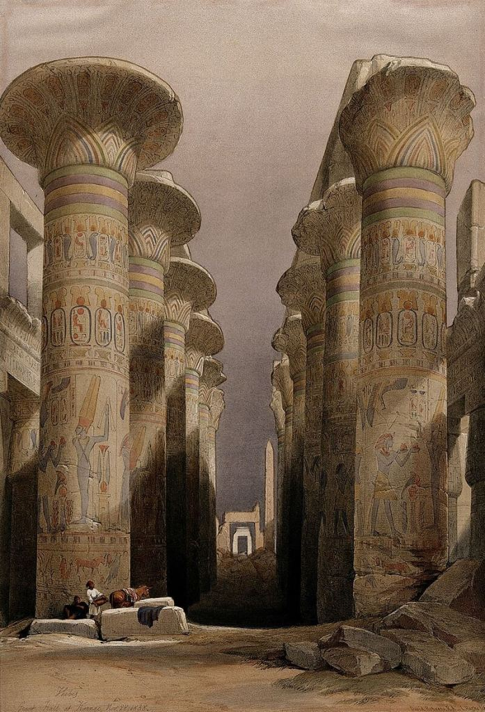 Illustration of how the pillars at the temple of Karnac looking in late 19th century