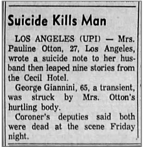 Pauline Otton suicide in newspaper clipping
