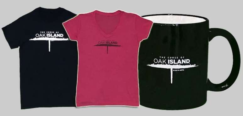 Official merchandise t-shirts and a mug for The Curse of Oak Island