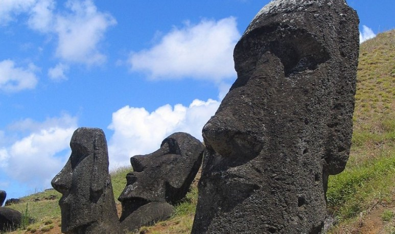 Easter Island statues gaze out to sea
