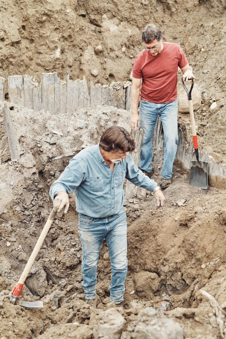 Marty and Rick Lagina inside an excavated hole on on The Curse of Oak Island Season 5