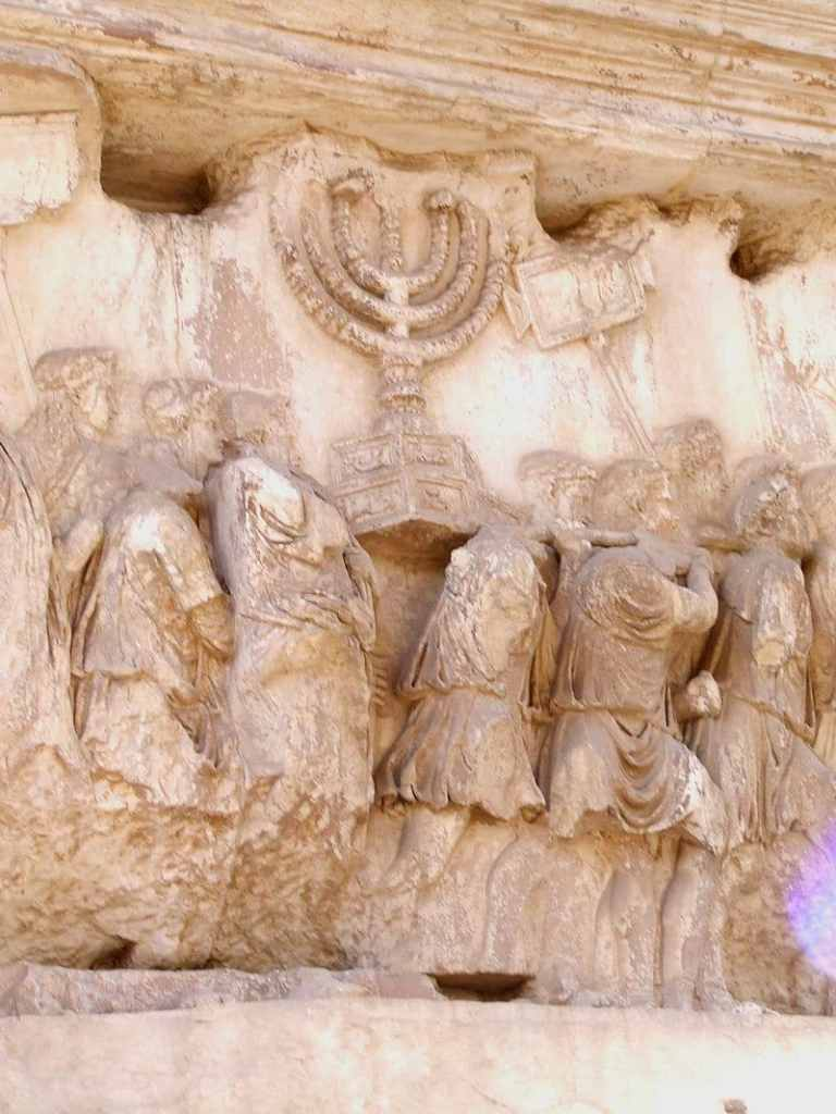 The Menorah on Arch of Titus close up