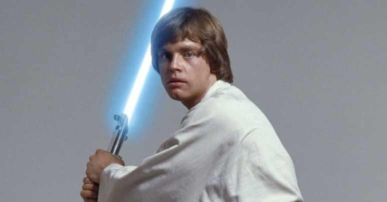 Mark Hamill's Luke Skywalker holding a blue lightsaber