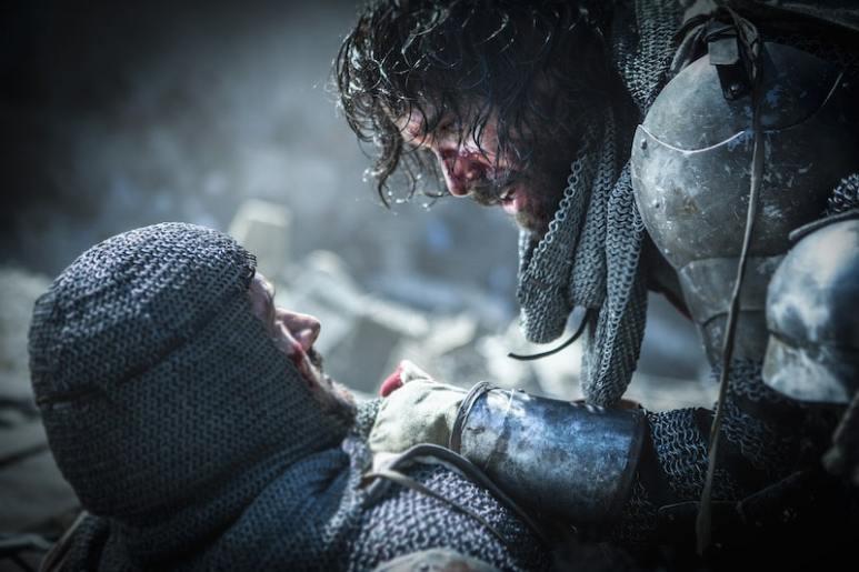 L-R: Gawain (Pádraic Delaney) and Landry (Tom Cullen) from HISTORY's New Drama Series Knightfall.