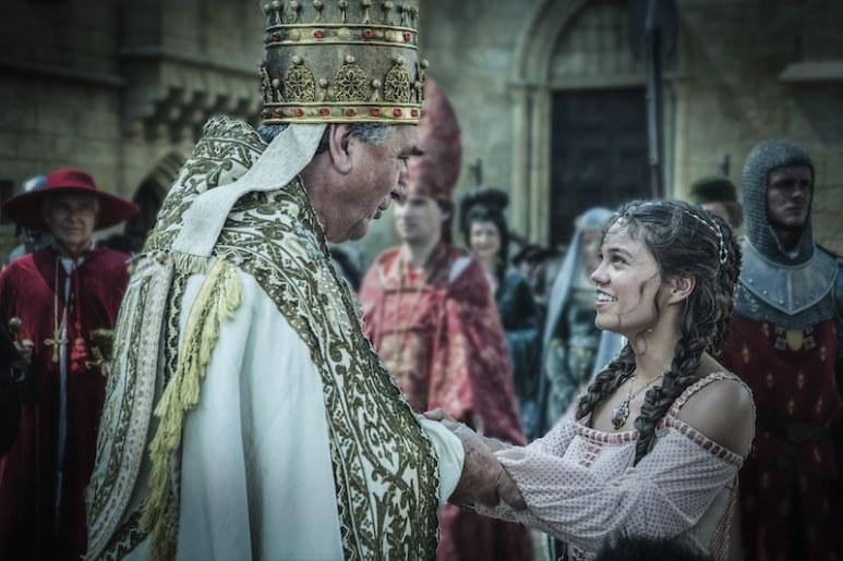 Pope Boniface VIII of France (Jim Carter) and Princess Isabella (Sabrina Bartlett) from HISTORY's New Drama Series Knightfall.
