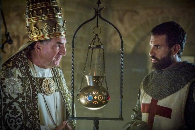 Pope Boniface VIII of France (Jim Carter) and Templar Knight Landry (Tom Cullen) from HISTORY's New Drama Series Knightfall.