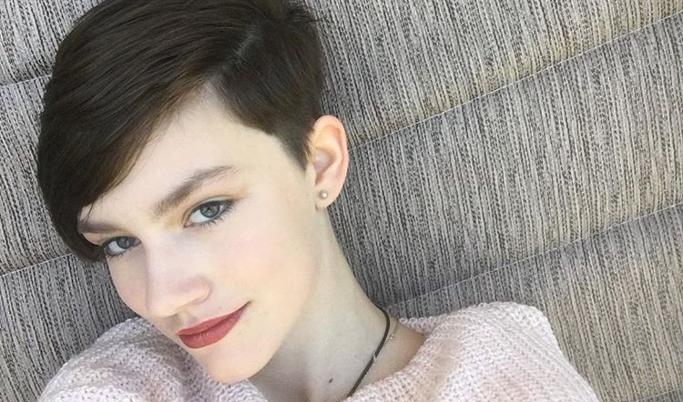 Rain Brown showing off her new short hair