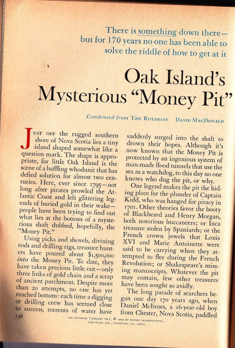 Reader's Digest: Oak Island's Mysterious 'Money Pit' Page 1