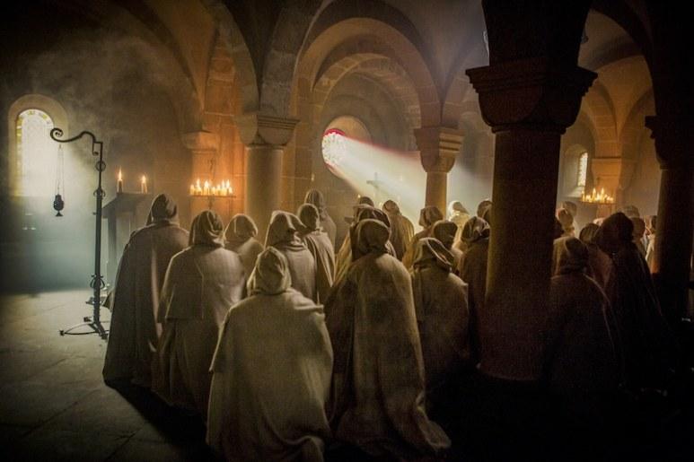 The Knights Templar in prayer from HISTORY's New Drama Series Knightfall.