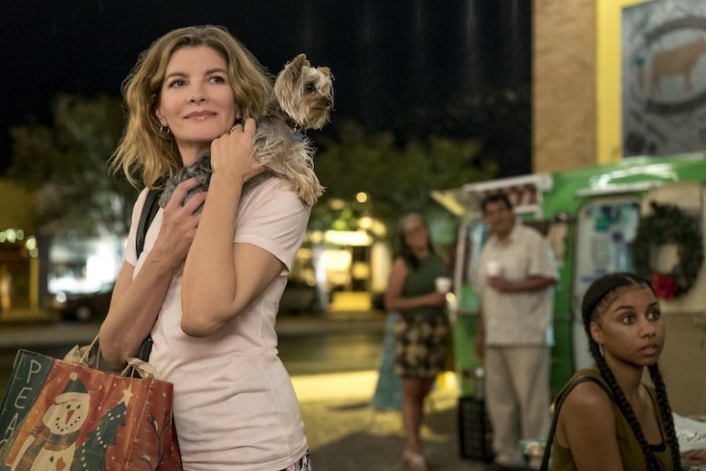 Rene Russo and Romeo the dog