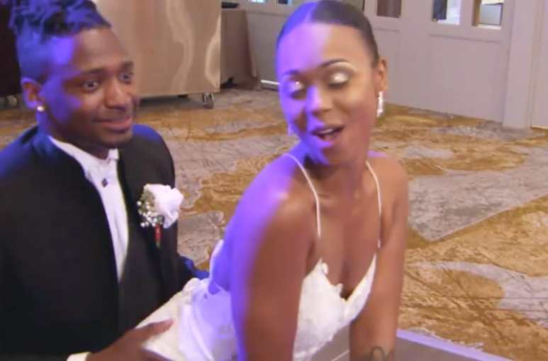 Shawniece Jackson gives Jephte Pierre a lap dance at wedding reception on Married at First Sight