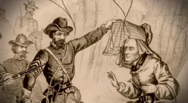 Illustration of Pritchard capturing Jefferson Davis