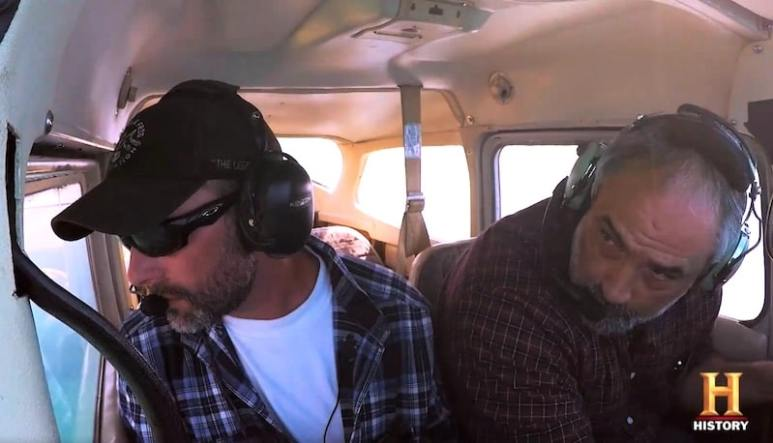 Kevin Dykstra in light aircraft on The Curse for Civil War Gold