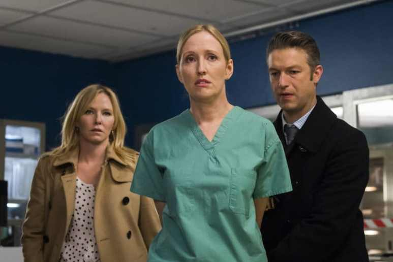 "Kelli Giddish as Detective Amanda Rollins, Janel Moloney as Dr. Lorraine Franchella and Peter Scanavino as Dominick ""Sonny"" Carisi"