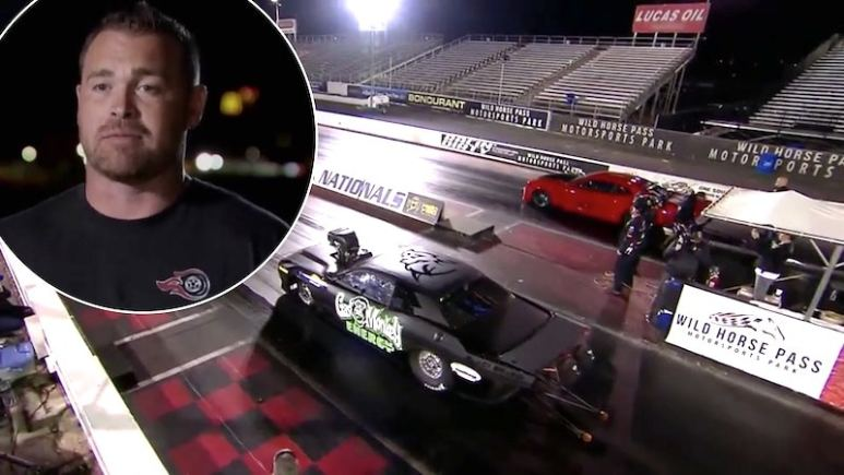 Ryan Martin and the start of the second run on Street Outlaws vs Fast N' Loud Mega Race 2