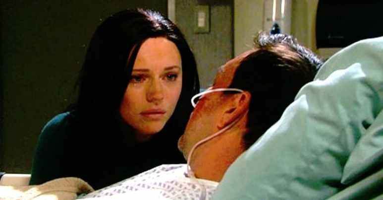 Gabby by Stefan's hospital bedside on Days of our Lives