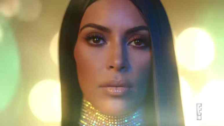 Kim Kardashian covered in glitter during the KKW Ultra Light Beams photo shoot