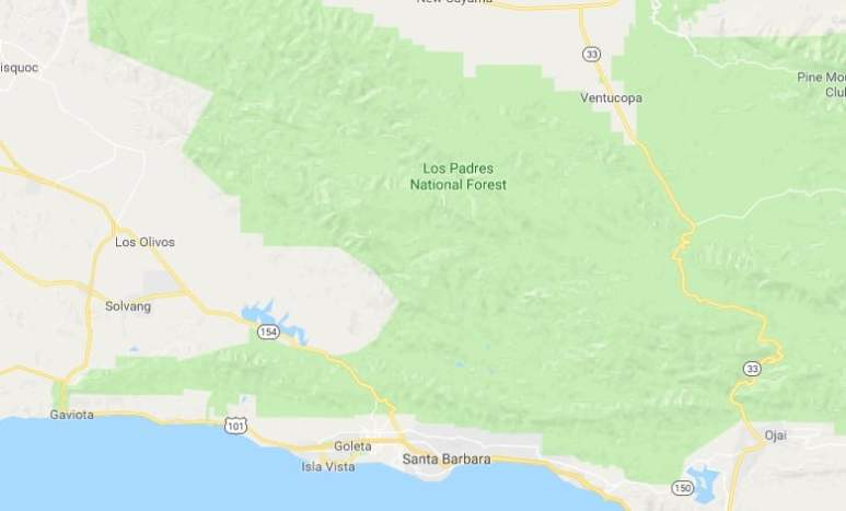 Los Padres National Forest map