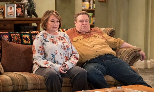 Roseanne Barr and John Goodman on Roseanne