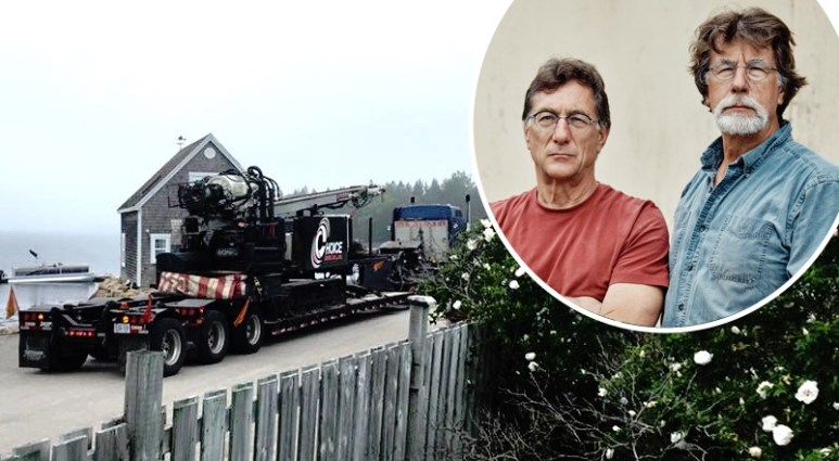 Rick and Marty Lagina and, left, the sonic drilling equipment arriving on Oak Island