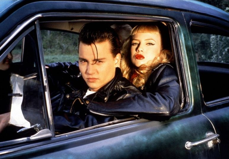 A still from Cry-Baby with Johnny Depp and Traci Lords in character